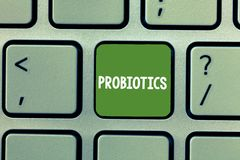 Text sign showing Probiotics. Conceptual photo Live bacteria Microorganism hosted into the body for its benefits.  stock image
