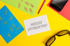 Text sign showing Process Optimization. Conceptual photo Improve Organizations Efficiency Maximize Throughput Paper. Text sign showing Process Optimization royalty free stock image