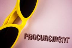 Text sign showing Procurement. Conceptual photo Obtaining Procuring Something Purchase of equipment and supplies written on Plain. Text sign showing Procurement Stock Photos