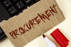 Text sign showing Procurement. Conceptual photo Obtaining Procuring Something Purchase of equipment and supplies written on Tear C. Text sign showing Procurement Stock Image