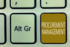 Text sign showing Procurement Management. Conceptual photo buying Goods and Services from External Sources royalty free stock photo