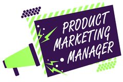 Text sign showing Product Marketing Manager. Conceptual photo who responsible for putting plan to sell product Megaphone loudspeak. Er green striped frame Stock Photos