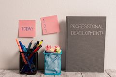 Text sign showing Professional Development. Conceptual photo Learning to earn or maintain Mastery Credentials Stick Pad. Text sign showing Professional stock photo