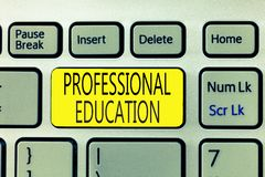 Text sign showing Professional Education. Conceptual photo Continuing Education Units Specialized Training.  stock images