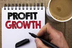 Text sign showing Profit Growth. Conceptual photo Financial Success Increased Revenues Evolution Development written by Man Holdin royalty free stock images