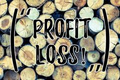 Text sign showing Profit Loss. Conceptual photo Financial year end account contains total revenues and expenses Wooden. Text sign showing Profit Loss. Business stock images