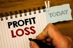 Text sign showing Profit Loss. Conceptual photos Financial year end account contains total revenues and expensesMan creating for t. Text sign showing Profit Loss royalty free stock photos
