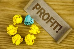 Text sign showing Profit Motivational Call. Conceptual photo Earned Money Payment Salary Business Revenue written on Folded Cardbo. Text sign showing Profit Stock Image