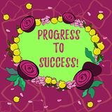 Text sign showing Progress To Success. Conceptual photo achievement of desired visions and planned goals Floral Wreath stock illustration