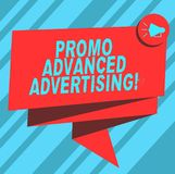 Text sign showing Promo Advanced Advertising. Conceptual photo inform target audiences the merits of a product Folded 3D. Ribbon Sash Megaphone Speech Bubble stock illustration