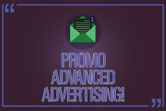 Text sign showing Promo Advanced Advertising. Conceptual photo inform target audiences the merits of a product Open. Envelope with Paper New Email Message vector illustration