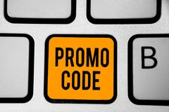 Text sign showing Promo Code. Conceptual photo digital numbers that give you good discount on certain product Keyboard orange key. Intention create computer royalty free stock images