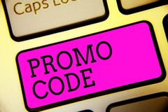 Text sign showing Promo Code. Conceptual photo digital numbers that give you good discount on certain product Keyboard purple key. Intention create computer stock images