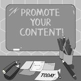 Text sign showing Promote Your Content. Conceptual photo inform or persuade target audiences about the product Mounted. Blank Color Blackboard with Chalk and stock illustration