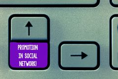 Text sign showing Promotion In Social Network. Conceptual photo Internet online marketing advertising strategies. Keyboard key Intention to create computer royalty free stock image