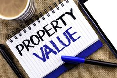 Text sign showing Property Value. Conceptual photo Estimate of Worth Real Estate Residential Valuation written on Notebook Book on. Text sign showing Property royalty free stock image