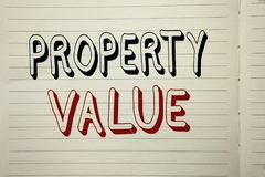Text sign showing Property Value. Conceptual photo Estimate of Worth Real Estate Residential Valuation written on Notebook Book. Text sign showing Property stock images