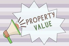 Text sign showing Property Value. Conceptual photo Worth of a land Real estate appraisal Fair market price.  royalty free illustration