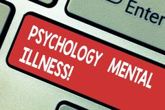 Text sign showing Psychology Mental Illness. Conceptual photo Psychiatric disorder Mental health condition Keyboard key Intention. To create computer message vector illustration