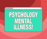Text sign showing Psychology Mental Illness. Conceptual photo Psychiatric disorder Mental health condition Monitor. Screen with Forward Backward Progress royalty free illustration
