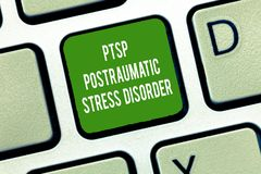 Text sign showing Ptsd Postraumatic Stress Disorder. Conceptual photo Serious mental condition Emotional Stress stock photography