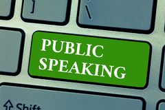 Text sign showing Public Speaking. Conceptual photo talking people stage in subject Conference Presentation.  royalty free stock photography