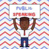 Text sign showing Public Speaking. Conceptual photo talking showing stage in subject Conference Presentation Smiling Man
