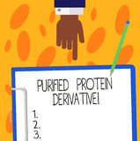Text sign showing Purified Protein Derivative. Conceptual photo the extract of Mycobacterium tuberculosis Hu analysis. Hand Pointing Down to Clipboard with vector illustration