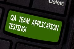 Text sign showing Qa Team Application Testing. Conceptual photo Question and answers making software test Keyboard key. Intention to create computer message royalty free stock images