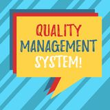 Text sign showing Quality Management System. Conceptual photo formalized system that documents processes Stack of Speech. Bubble Different Color Blank Colorful vector illustration