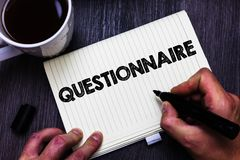 Text sign showing Questionnaire. Conceptual photo Questions with a choice of answers Survey Statistical study Black coffee white c. Up paper marker pen thoughts royalty free stock image