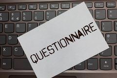 Text sign showing Questionnaire. Conceptual photo Questions with a choice of answers Survey Statistical study Black laptop keyboar. D art paper nice computer stock photos