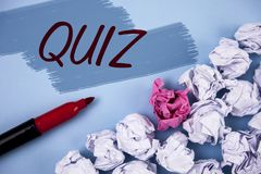 Text sign showing Quiz. Conceptual photo Short Tests Evaluation Examination to quantify your knowledge written on Painted backgrou. Text sign showing Quiz Royalty Free Stock Photography
