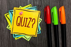 Text Sign Showing Quiz Question. Conceptual Photo Short Tests Evaluation Examination To Quantify Your Knowledge Three Marker Pens Royalty Free Stock Photo