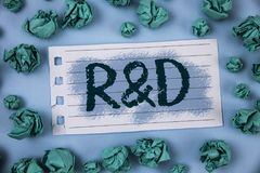 Text sign showing R D. Conceptual photo Research and Development Scientific Investigations Innovations written on Notepad Paper wi. Text sign showing R D Royalty Free Stock Photo