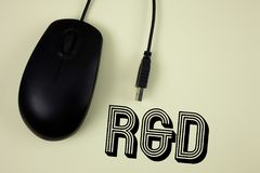 Text sign showing R D. Conceptual photo Research and Development Scientific Investigations Innovations written on Plain background. Text sign showing R D Royalty Free Stock Photos