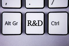 Text sign showing R D. Conceptual photo Research and Development Scientific Investigations Innovations written on White Keyboard K. Text sign showing R D Royalty Free Stock Photos