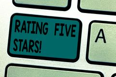 Text sign showing Rating Five Stars. Conceptual photo indicating highest classification based given set criteria. Keyboard key Intention to create computer stock photos
