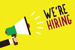Text sign showing We re are Hiring. Conceptual photo Advertising Employment Workforce Placement New Job Man holding megaphone loud. Speaker yellow background stock illustration