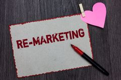 Text sign showing Re Marketing. Conceptual photo Strategy to reach potential customers in your website White page red borders mark