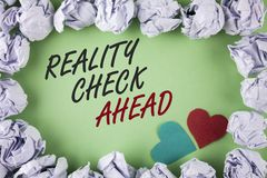 Text sign showing Reality Check Ahead. Conceptual photo Unveil truth knowing actuality avoid being sceptical written on plain gree. Text sign showing Reality royalty free stock photos