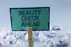 Text sign showing Reality Check Ahead. Conceptual photo Unveil truth knowing actuality avoid being sceptical written on Sticky Not. Text sign showing Reality royalty free stock images