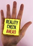 Text sign showing Reality Check Ahead. Conceptual photo Unveil truth knowing actuality avoid being sceptical written on Yellow Sti. Text sign showing Reality royalty free stock photo