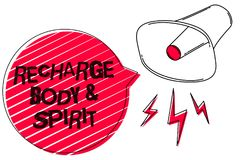 Text sign showing Recharge BodyandSpirit. Conceptual photo fill your energy through relaxation and having fun Sketch artwork loud. Sound speaker alarm awareness Stock Photo