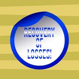 Text sign showing Recovery Of Losses. Conceptual photo to get better after being ill regain or make up for Bottle Packaging Blank vector illustration