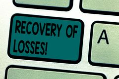 Text sign showing Recovery Of Losses. Conceptual photo to get better after being ill regain or make up for Keyboard key royalty free stock photo