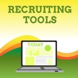 Text sign showing Recruiting Tools. Conceptual photo getting new talents to your company through internet or ads Open. Text sign showing Recruiting Tools vector illustration