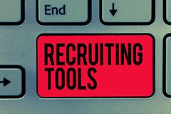 Text sign showing Recruiting Tools. Conceptual photo getting new talents to your company through internet or ads.  royalty free stock images