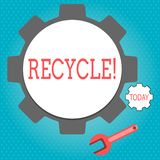 Text sign showing Recycle. Conceptual photo Converting waste into reusable material. Text sign showing Recycle. Conceptual photo Converting waste into reusable royalty free illustration