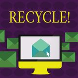 Text sign showing Recycle. Conceptual photo Converting waste into reusable material. Text sign showing Recycle. Conceptual photo Converting waste into reusable vector illustration